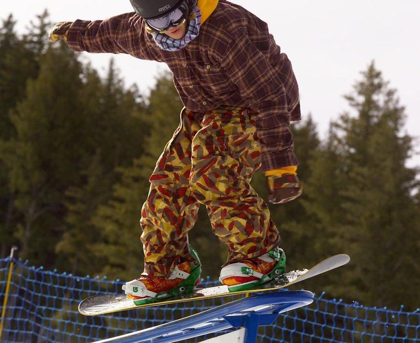 Young snowboarder on a Sun Valley Terrain Park rail. Photo courtesy of Sun Valley Resort.