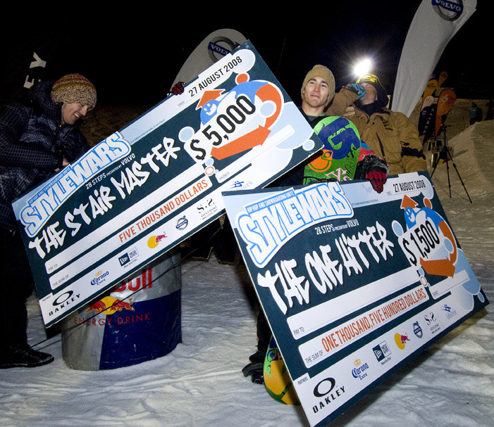 "Canadian Charles Reid in the winner's circle at the Oakley Stylewars event, Falls Creek, Australia. Accompanies the item ""Everyone's A Winner In Australian Snow Events."""