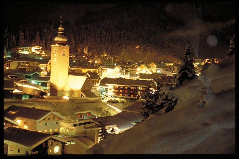 Lech village at night, Austria