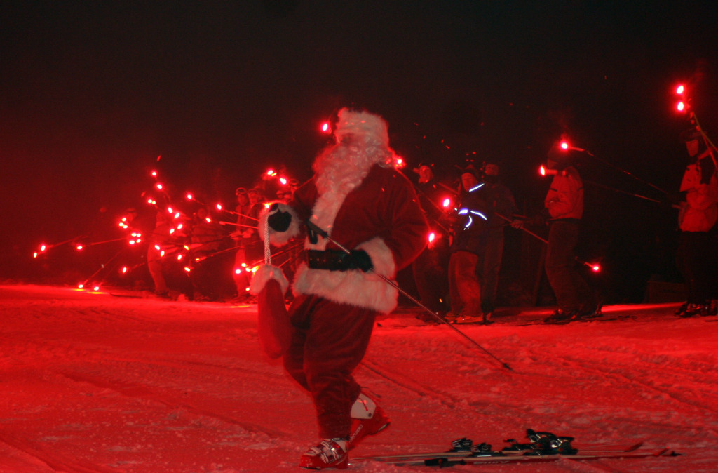 Santa leads the annual Torchlight Parade on Park City Mountain Resort's PayDay run on Christmas Eve - ©Courtesy of Park City Mountain Resort