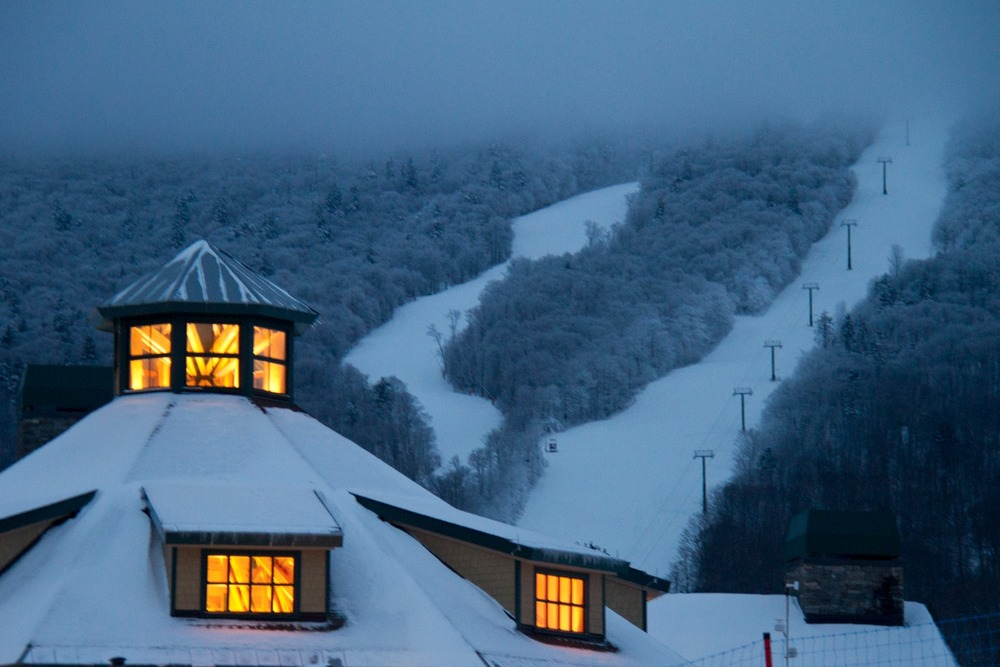 With Old Man Winter now taking the helm for a few months, and with forecasts calling for snow through the weekend in Vermont, it's shaping up to be a great holiday week of skiing and riding in the Green Mountains. (Spruce Peak Lodge at Stowe)