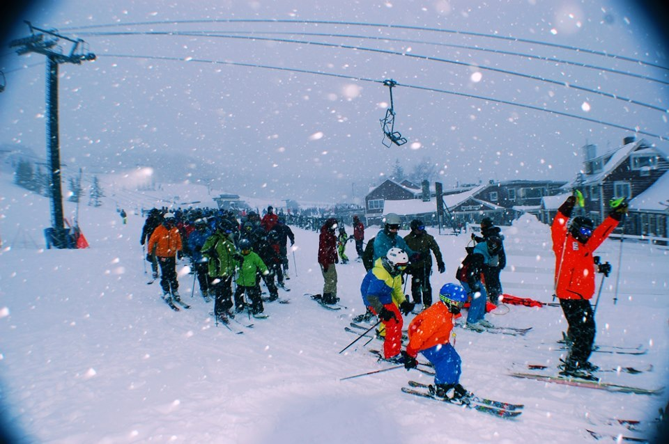 First chair on a powder day at Bromley. - ©Bromley Mountain/Facebook