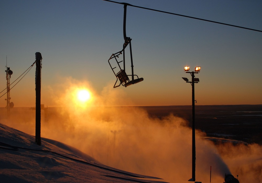 Chairlift in Ruka as sun goes down