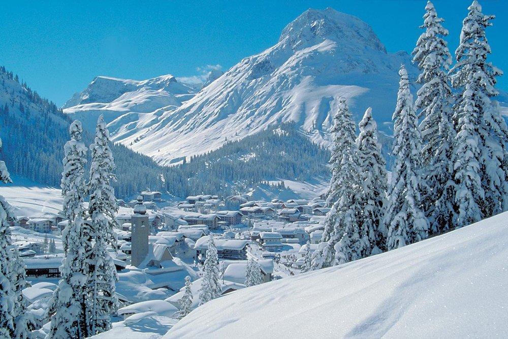 Snow-clad Lech village, Austria