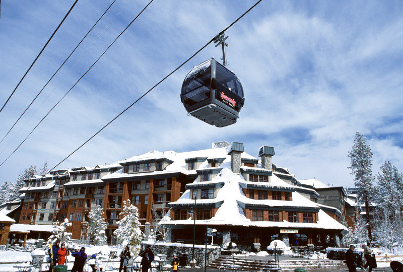 A gondola at Heavenly Mountain Resort in South Lake Tahoe, California makes its way up the mountain