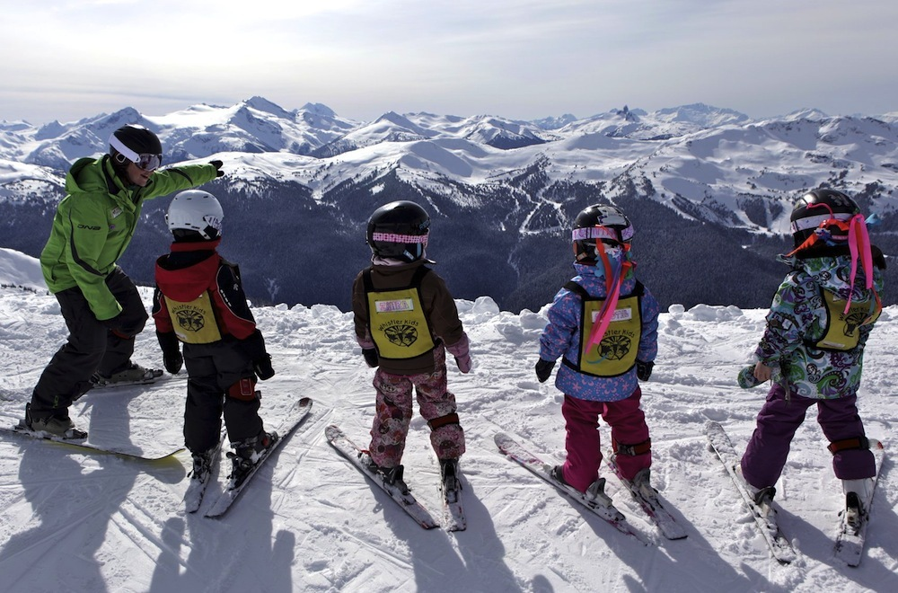 Kids lessons at Whistler Blackcomb. Photo by Toshi Kawano, courtesy of Whistler Tourism.