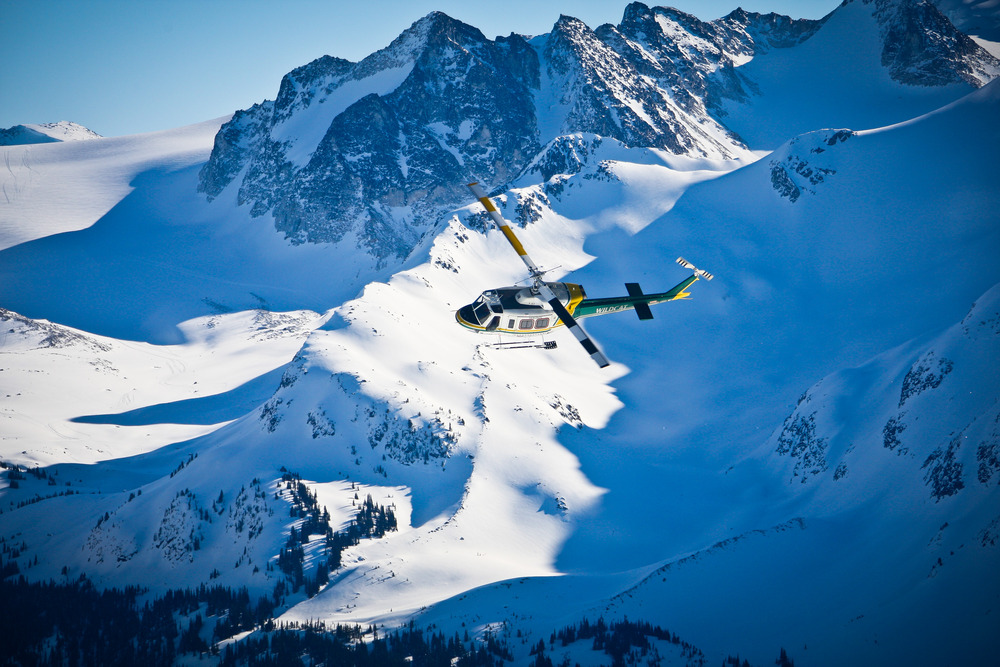 The chopper high above the Tyax Lodge Heli-Skiing domain.