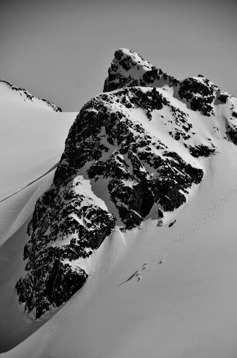 Tracks under the chopper at Tyax Lodge Heli-Skiing. - ©Randy Lincks/Andrew Doran