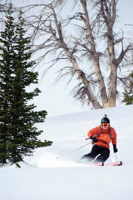 Editor Dan Kasper eases into a turn with Sun Valley Heli-Ski Guides.