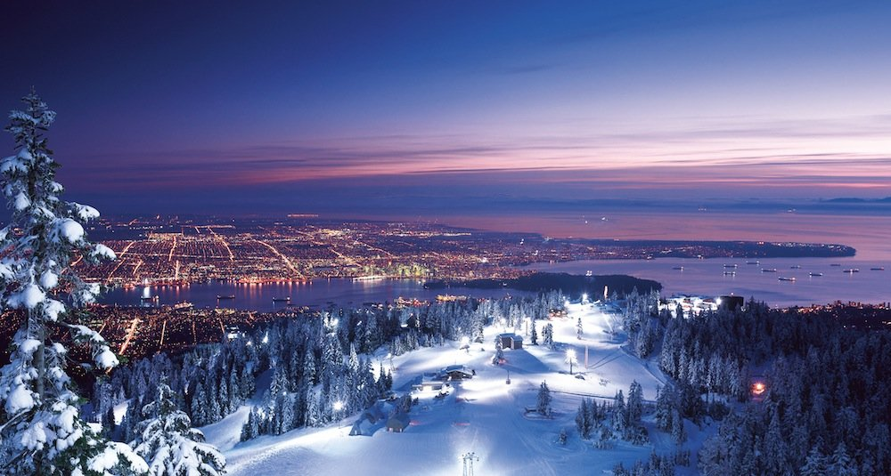 Night skiing at Grouse yields views of Vancouver lights. Photo courtesy of Grouse Mountain.