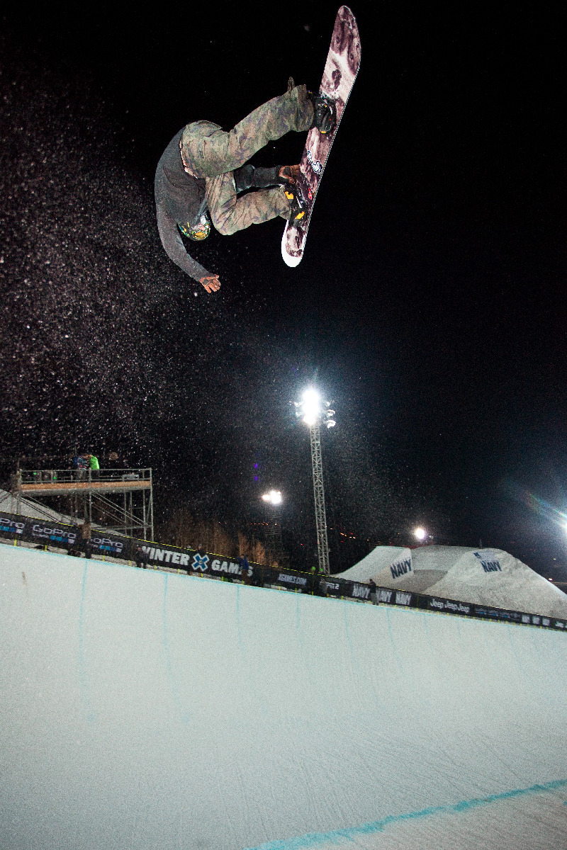 Snowboard Superpipe Practice. Men's elimination round is on Friday at 7pm on ESPN - ©Jeremy Swanson