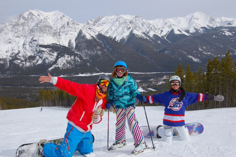 Enjoying the sun at Nakiska ski area in Alberta. Photo courtesy of Resorts of the Canadian Rockies.
