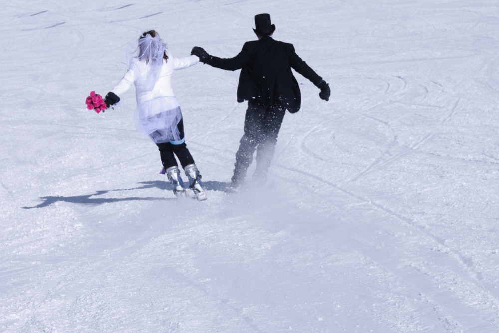 After getting hitched at the top of Loveland it's time to celebrate by skiing down and downing a mimosa.