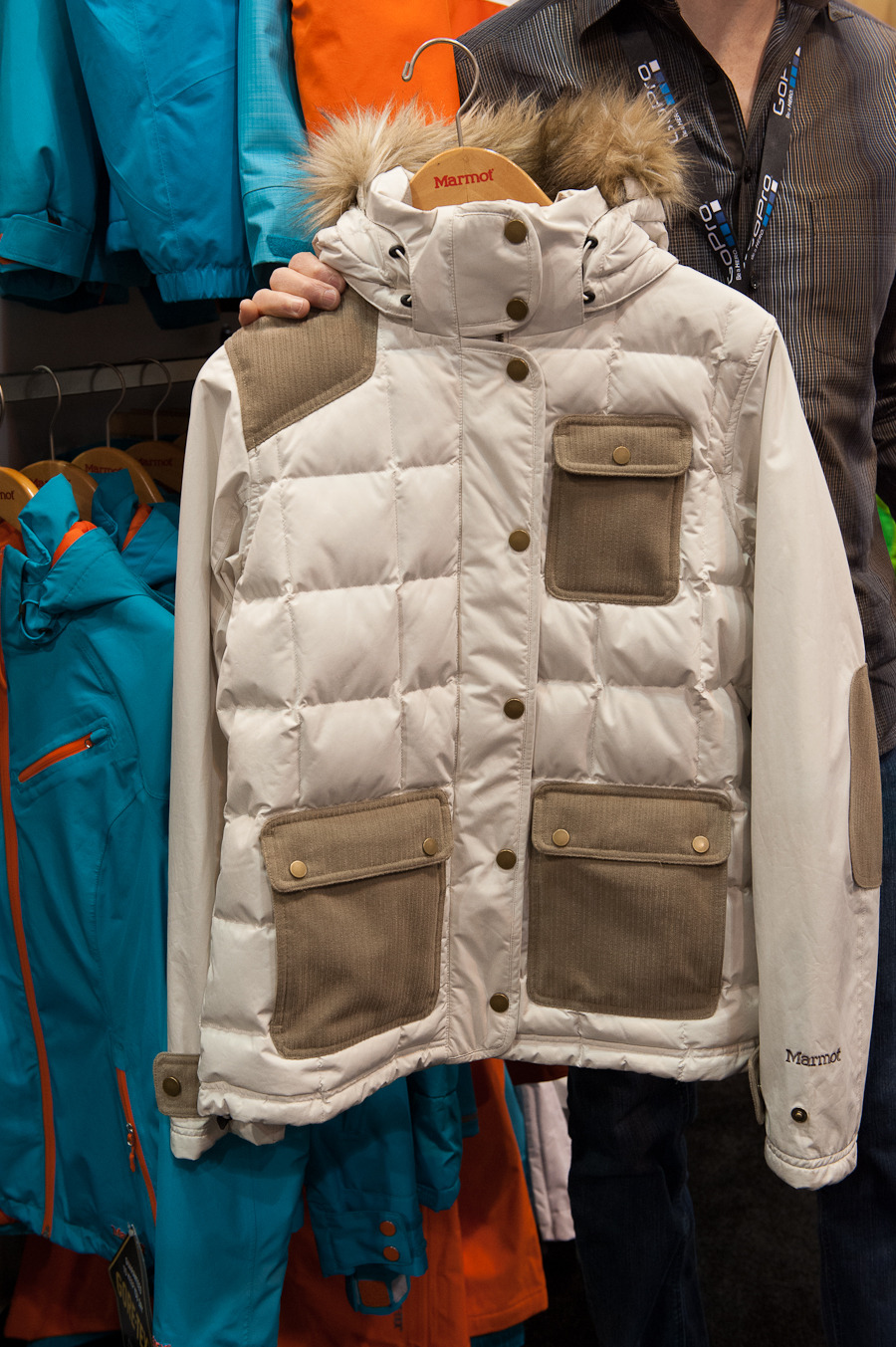 Marmot's Fab down jacket is complete with 650 fill down and pockets that have corduroy-like fabric for added comfort. It also comes with a faux fur collar and removable hood.  - ©Ashleigh Miller Photography