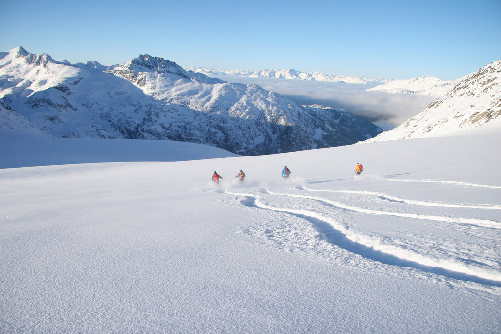 Fresh tracks are the norm when heli skiing with Whistler Heli-Skiing.