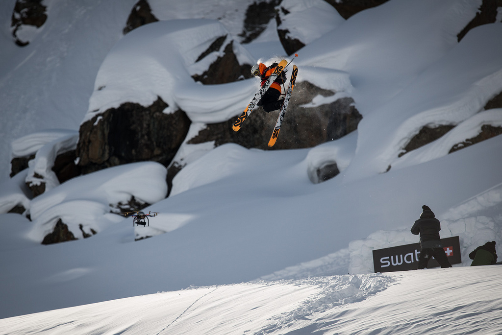 Charley Ager going big in the Backcountry Slopestyle portion of the Swatch Skiers Cup.