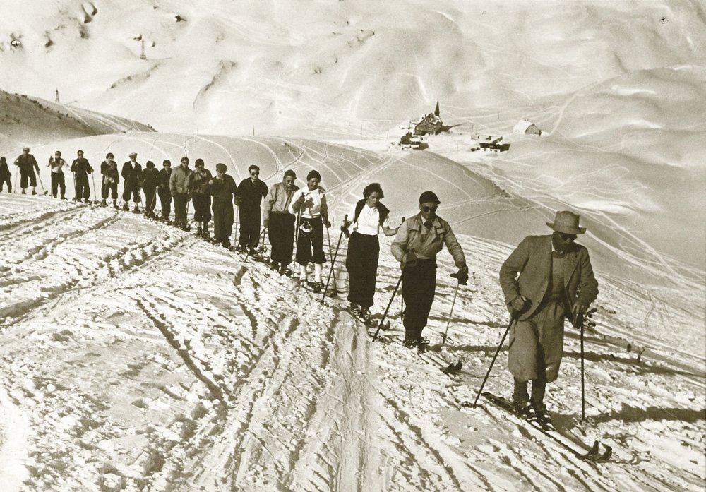 Ski touring at Arlberg in the old days.