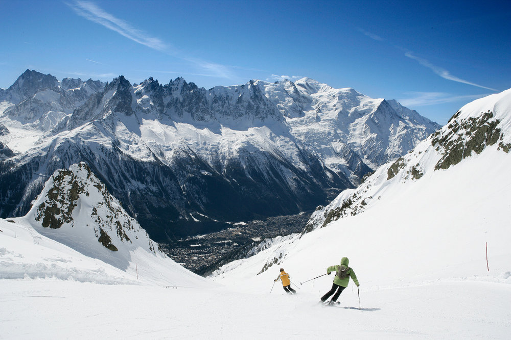 Skiing at Chamonix on La Flegre sector