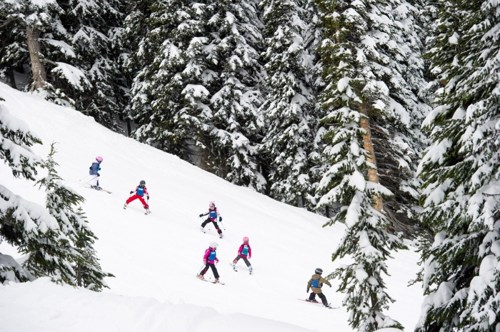 Kids skiing on Whistler Mountain. Photo by Mike Crane, courtesy of Tourism Whistler.
