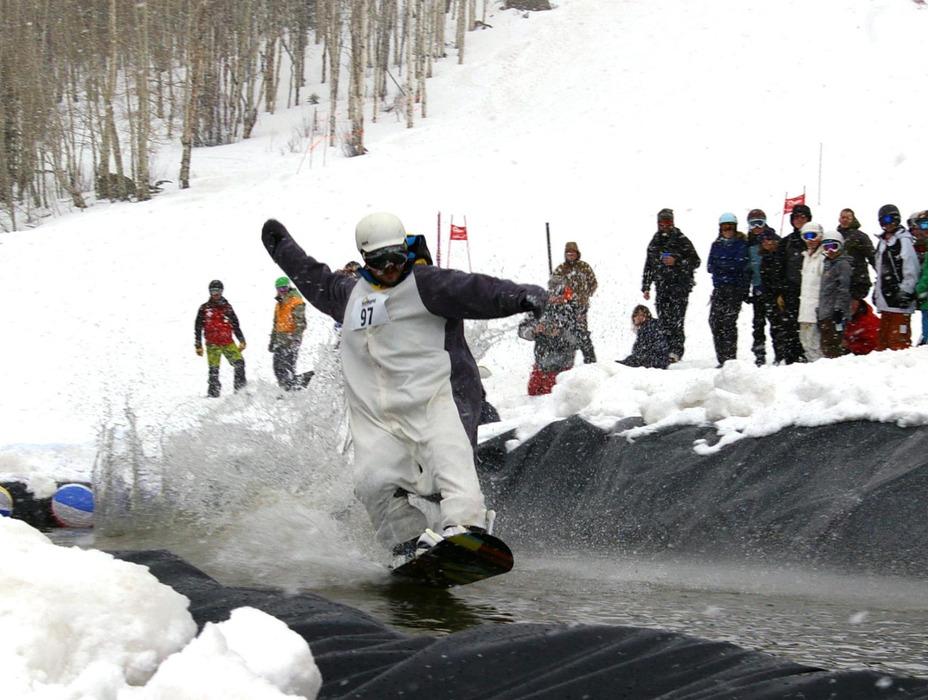 The Beach Party Pond Skim Spectacular is an annual tradition at Sunlight Mountain Resort.