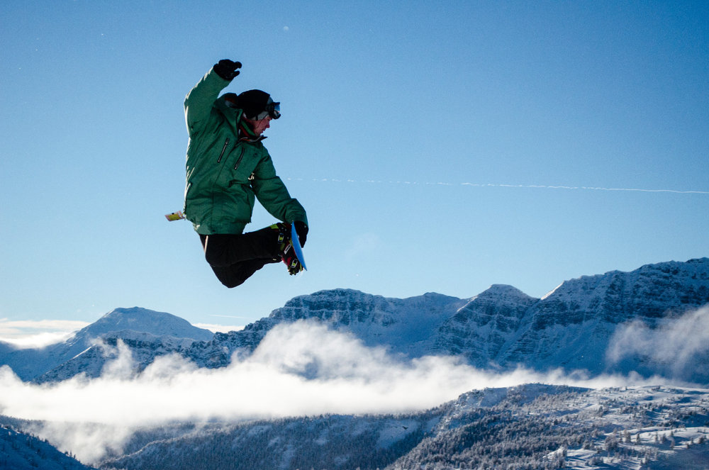 A snowboarder gets air at Sunshine Village. Photo by Shawn Alain, courtesy of Ski Big 3.