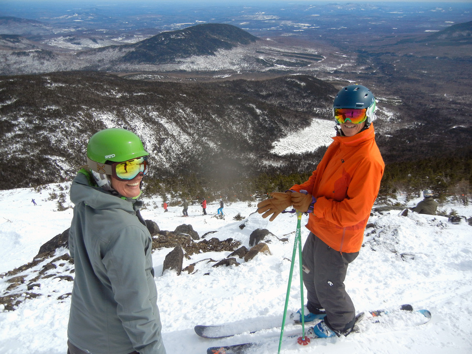Skiers prepare to drop into the Backside Snowfields at Sugarloaf. Photo Courtesy of Sugarloaf Resort.