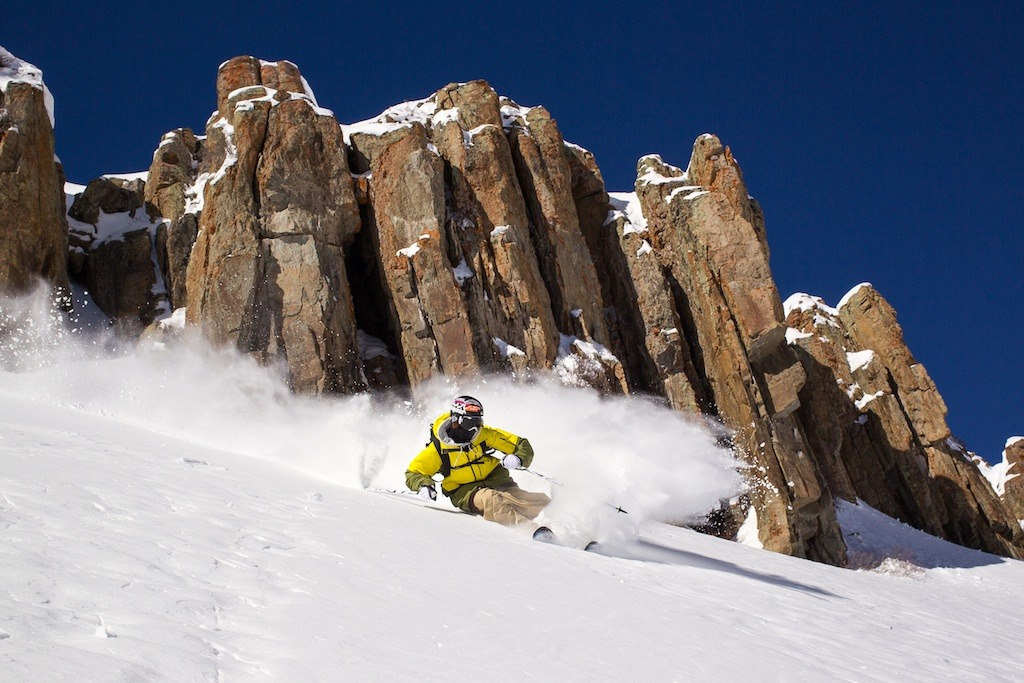 Aidan Sheahan skis some powder with Irwin Cat Skiing at Eleven Colorado. - ©Jeff Cricco