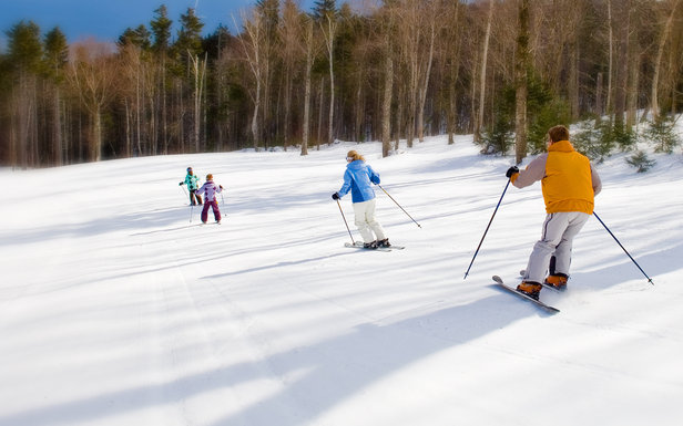 Family skiing in Bretton Woods, N.H.