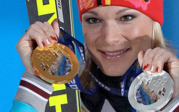 Gold und Silber im Gepäck: Für Maria Höfl-Riesch lief es bei den Spielen 2014 sehr gut