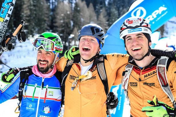 Sprint Podium beim Weltcup der Skibregsteiger im Martelltal