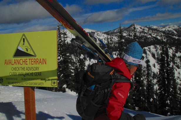 Avalanche sign at Whitefish Mountain Resort - ©Becky Lomax