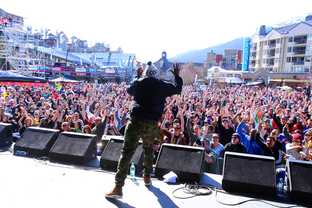 Crowds gather for free concerts at the World Ski and Snowboard Festival. - ©Dave Humphreys/Whistler Blackcomb