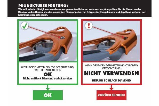 Rückruf von Black Diamond: Easy Rider und Iron Cruiser Klettersteigsets, Index Steigklemme, CamalotTM und CamalotTM Ultralight  - ©Black Diamond