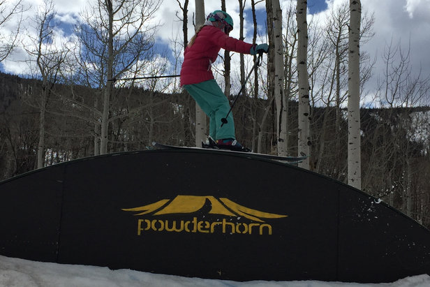 Ande rides the Rainbow Rail at Powderhorn. - ©Krista Crabtree