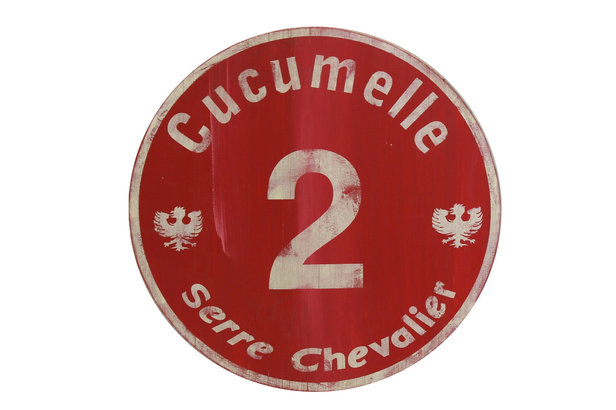 Panneau de piste rouge vintage