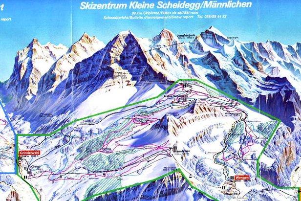 Skikarte West Europa / Schweiz / Wengen - ©*