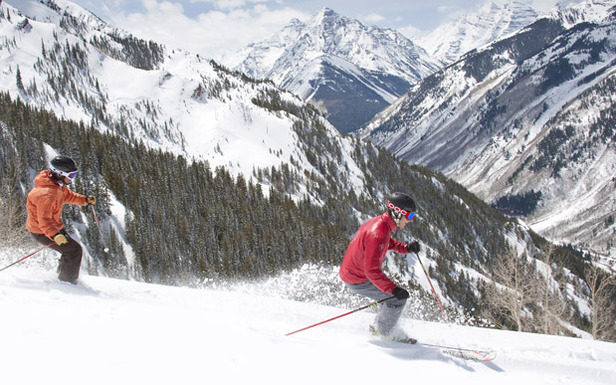 A student follows an instructor at Snowmass Mountain in Aspen. Photo by Hal Williams.