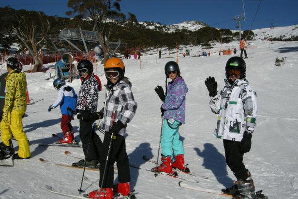 Children on the slopes of Charlotte Pass, Australia (taken June 29)