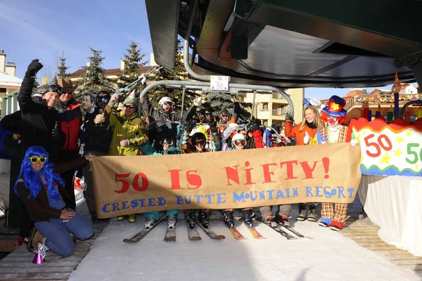 Crested Butte celebrates the start of their 50th anniversary during the 2011-2012 opening day - ©Courtesy of Crested Butte Mountain Resort