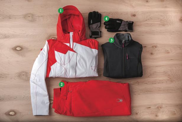 Women's Outfit #2) 1) Spyder Breaker Jacket; 2) Spyder Circuit Athletic Fit; 3) Patagonia Piton Hybrid Jacket; 4) Dakine Odyssey Glove