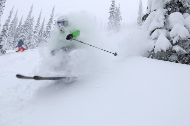 Face full of powder on Schweitzer Mountain