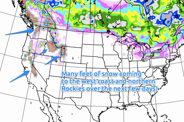A series of storms will dump feet of snow for the northern Rockies, with the largest accumulations in Idaho, Montana, and Wyoming.