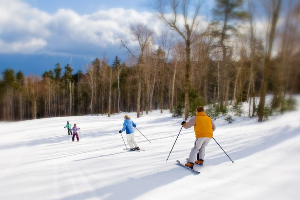 A family of skiers at Bretton Woods. Photo Courtesy of Skiing Bretton Woods comes with majestic views of New Hampshire's Presidential Range. Photo Courtesy of Omni Mount Washington Resort.
