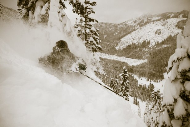 Chris Shalbot deep in Stevens Pass - ©Liam Doran