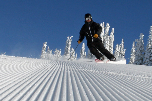 Groomer skiing at Brundage.