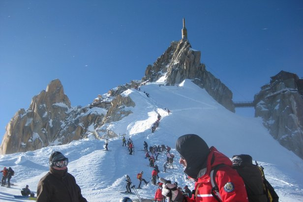 From Chamonix's top lift, it's an ear-popping, vertigo-inducing climb to the top of the Aiguille du Midi before skiing the Vallee Blanche - ©Chamonix Tourist Office