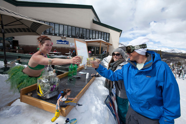 Staying hydrated on St. Patty's Day is a full time job at Dante's at Durango Mountain Resort. - ©Scott Smith