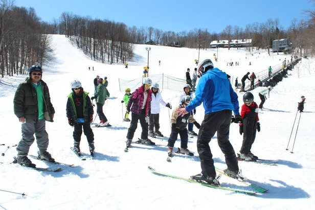 Soft snow and warm sun makes spring a great time to learn to ski or ride. Photo Courtesy of Hidden Valley Resort.