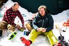 Ski Test lunch break - A rare sit-down break