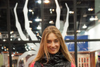 Pro skier/model Sierra Quitiquit models the Moxie jacket in her signature colors of pink and black. The jacket features hair elastics on the pockets for quick and easy use.
